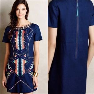 Anthropologie · Maeve Navy Embroidered Linen Dress